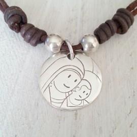 Gargantilla con medalla de plata Virgen con niño