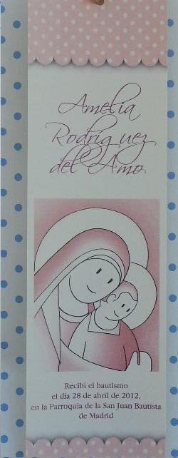 Marcapáginas Bautizo Virgen Rosa