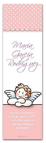 Marcapáginas Angelito y topitos Rosa