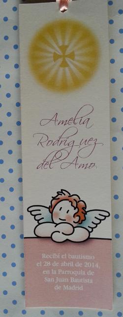 Marcapáginas Angelito Rosa y cruz