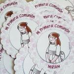 Etiqueta y bolsa de celofán para personalizar los detalles de invitados de Primera Comunión