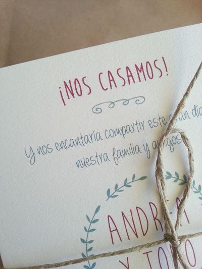 Invitaciones de boda para Andrea y Tono