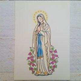 Estampa Virgen de Lourdes