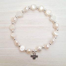 Pulsera perlas río y plata
