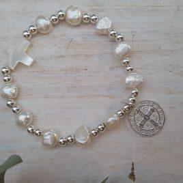 Pulsera Decenario perlitas y plata con Medalla de San Benito