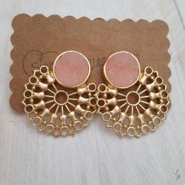 Pendientes bisuteria rosa y dorado redondo