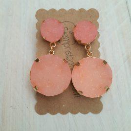 Pendiente bisuteria piedra rosa cuarzo doble