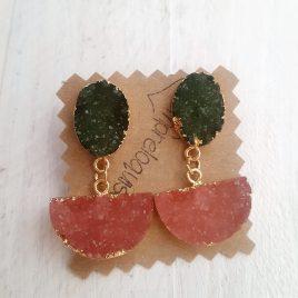 Pendientes bisuteria verde oliva y rosa cuarzo