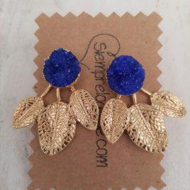 Pendientes bisuteria hojas azulón