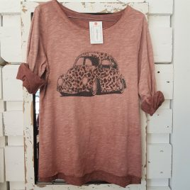 Camiseta coche print berenjena