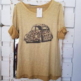 Camiseta coche print mostaza