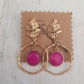 Pendientes aro y piedra rosa