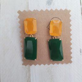 Pendiente bicolor rectangular mostaza y verde