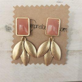 pendientes hojas rosa nude