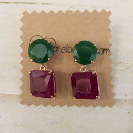 Pendientes bicolor cuadrado verde y berenjena