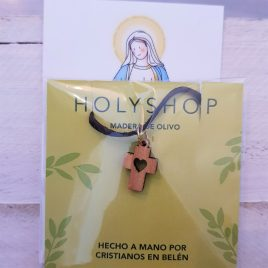 Colgante cruz madera de olivo + estampa