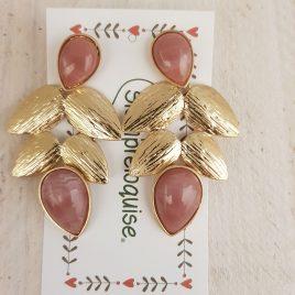 Pendientes lagrimas rosas y hojas doradas
